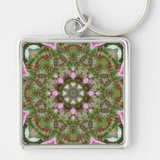 Rosa Azaleen 1E kaleidoscope12 Silberfarbener Quadratischer Schlüsselanhänger