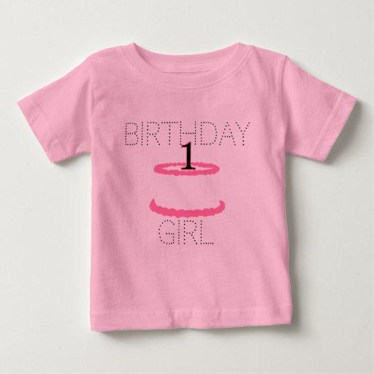 Rosa Baby-Mädchen-erstes Geburtstags-Shirt Baby T-shirt