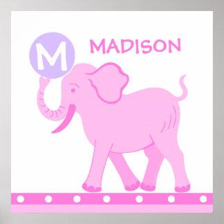 Rosa Baby-Mädchen-Kinderzimmer des Zirkus-| Poster