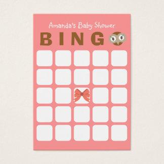 Rosa Babyparty-Bingo-Karte des Eulen-Mädchen-5x5 Visitenkarte