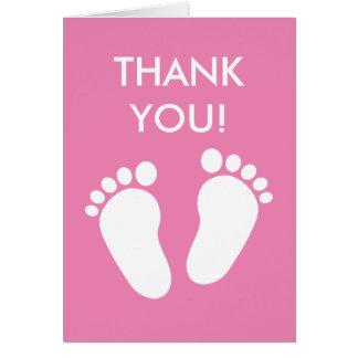 Rosa Babyparty danken Ihnen, mit Abdrücken zu Karte