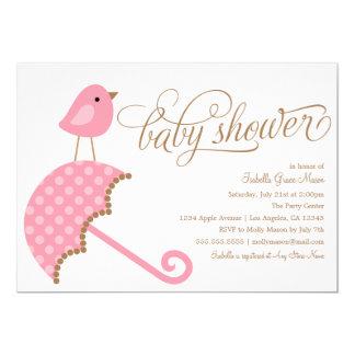 Rosa Babyparty des Regenschirm-  laden ein 12,7 X 17,8 Cm Einladungskarte