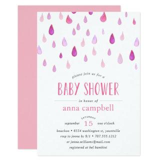 Rosa Babyparty-Einladung der Regentropfen-| Karte