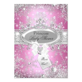 Rosa Babyparty Prinzessin-Winter Wonderland laden 11,4 X 15,9 Cm Einladungskarte