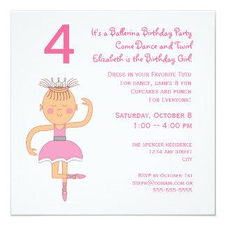 Rosa Ballerina-Prinzessin Birthday Party Quadratische 13,3 Cm Einladungskarte