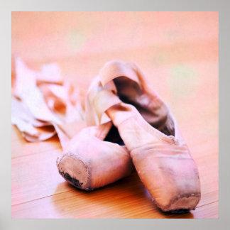 Rosa Ballett-Pantoffel Pointe Schuh-Tanz-Schablone Poster