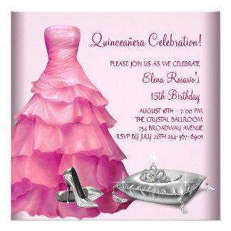 Rosa Ballkleid-hoher Absatz beschuht rosa Einladungskarte