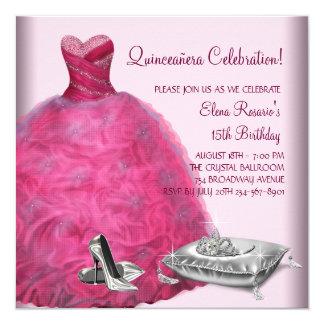 Rosa Ballkleid-hoher Absatz beschuht rosa Quadratische 13,3 Cm Einladungskarte
