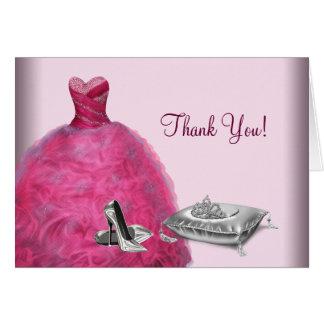 Rosa Ballkleid-hoher HeelsTiara danken Ihnen Mitteilungskarte