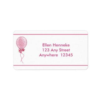 Rosa Ballon 2 Adressaufkleber
