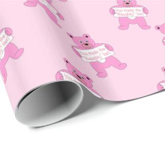 Rosa Bär mit Zeichen-frecher Liste Geschenkpapier