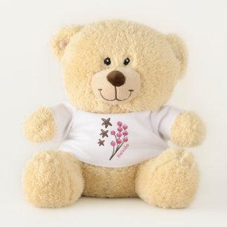 Rosa Beeren und Seesterne mit Monogramm Teddybär