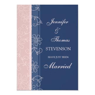 Rosa Blau-gerade verheiratete Mitteilungs-Karten 12,7 X 17,8 Cm Einladungskarte