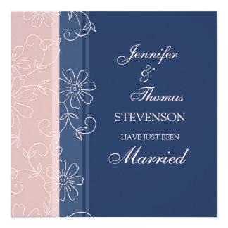 Rosa Blau-gerade verheiratete Mitteilungs-Karten Quadratische 13,3 Cm Einladungskarte