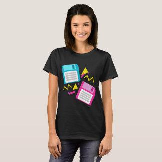 Rosa blaue Retro Diskette-80er-70er 90s Nostalgie T-Shirt