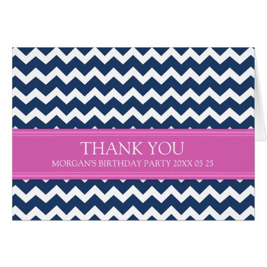 Rosa blaues Zickzack Geburtstags-Party danken Grußkarte