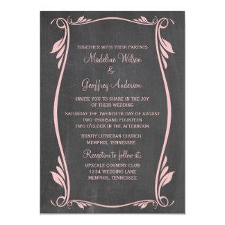 Rosa blühen Tafel-Hochzeit einladen 12,7 X 17,8 Cm Einladungskarte