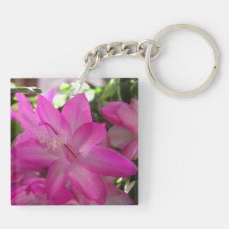 Rosa blühender Kaktus Schlüsselanhänger