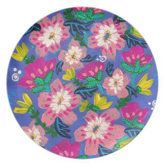Rosa blüht Melamin-Platte Teller