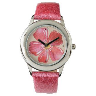 Rosa Blume Armbanduhr
