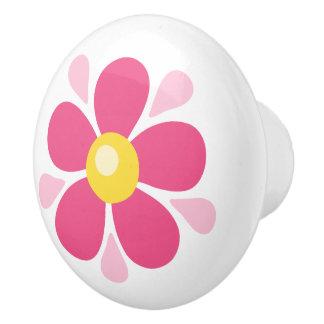 Rosa Blume - niedlicher Entwurf für Kinder Keramikknauf