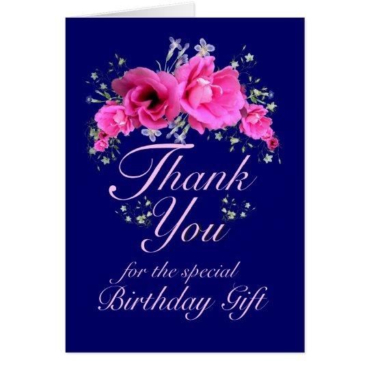 Rosa Blumen danken Ihnen für Karte