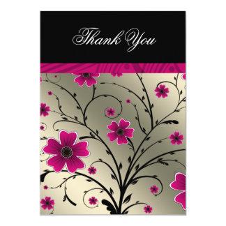 rosa Blumen des Elfenbeins danken Ihnen 12,7 X 17,8 Cm Einladungskarte