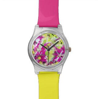Rosa Blumen-Farbexplosion Armbanduhr