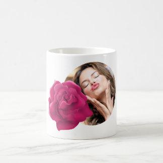 Rosa Blumen-Foto-Tasse Kaffeetasse