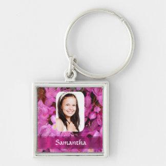 Rosa Blumen-Fotoschablone Schlüsselanhänger