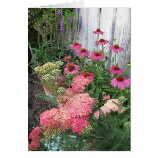 Rosa Blumen-Garten Mitteilungskarte
