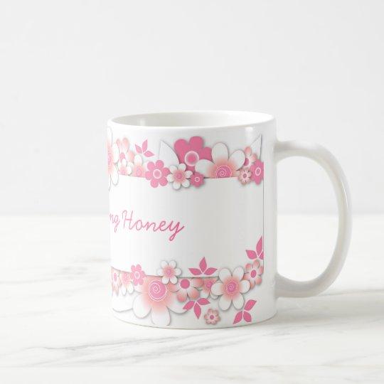 Rosa Blumen, guter Morgen-Honig Tasse