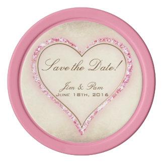 Rosa Blumen-Herz, das Save the Date Wedding ist Poker Chips