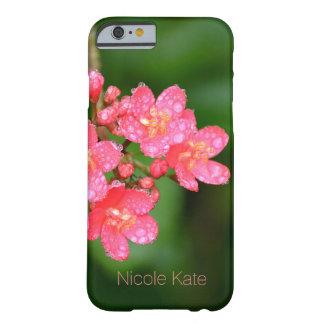 Rosa Blumen mit Wasser lässt Monogramm fallen Barely There iPhone 6 Hülle