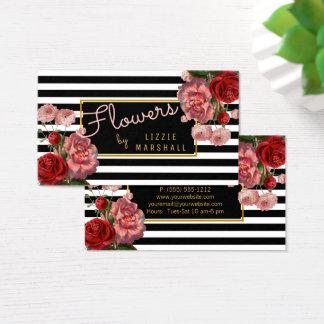 Rosa Blumen| Schwarz-weißer Visitenkarte