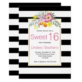 Rosa Blumen, Streifen-16. Geburtstag-Geburtstag 12,7 X 17,8 Cm Einladungskarte