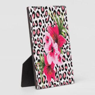 Rosa Blumen u. Leopard-Muster-Druck-Entwurf Fotoplatte