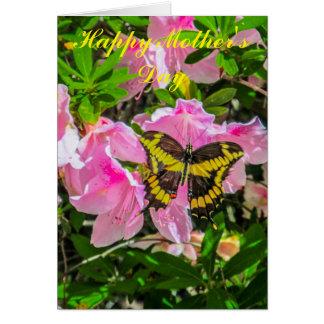Rosa Blumen und Schmetterling - Karte der Mutter