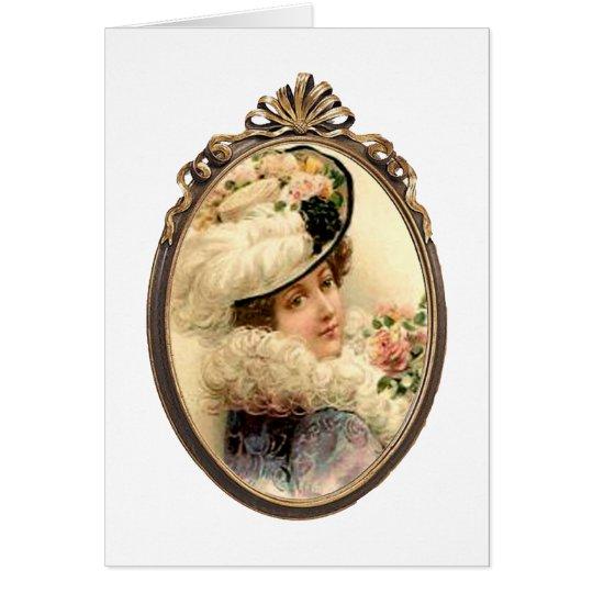 Rosa Blumen-viktorianische Dame leere Karte