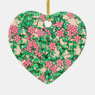 Rosa Blumen, weicher Pfirsichhintergrund Keramik Herz-Ornament