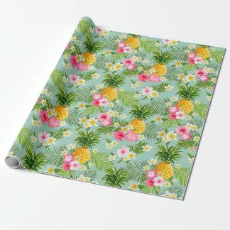 Rosa Blumenananas-tropisches Packpapier Geschenkpapier