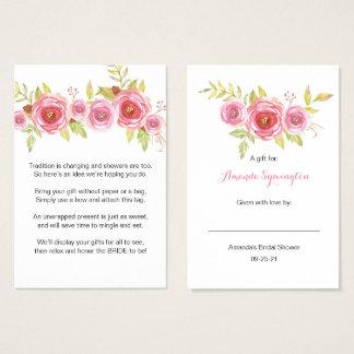 Rosa Blumenanzeigen-Brautpartyantragumbau 3605 Visitenkarte