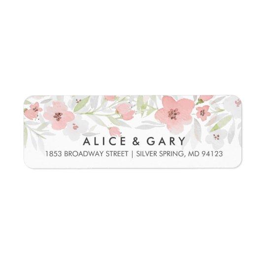 Rosa BlumenAquarell-Hochzeits-Aufkleber Rücksende Aufkleber