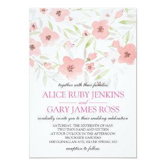 Pink Floral Watercolor Wedding Card