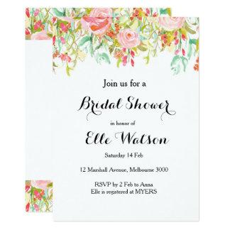 Rosa BlumenBrautparty-Einladung 12,7 X 17,8 Cm Einladungskarte