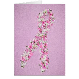 Rosa Blumenbrustkrebs-Bewusstseins-Band Karte