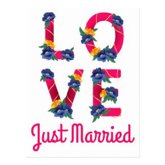 Rosa Blumengerade verheiratete Hochzeits-blaue Postkarte