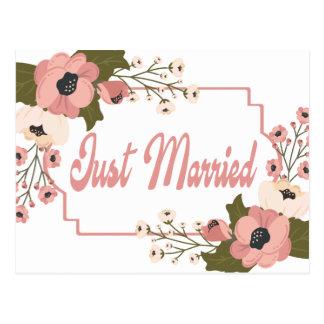 Rosa Blumengerade verheiratete Postkarte