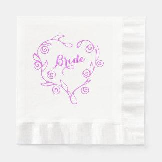 Rosa Blumenherz-Brautparty-Serviette Papierserviette