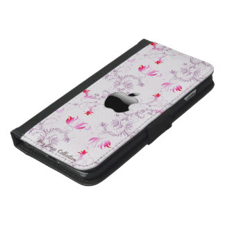 Rosa BlumenIphone Geldbörse iPhone 6/6s Plus Geldbeutel Hülle